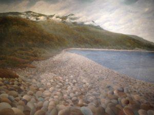 Hauturu 2016, by Aroha Gossage (b1989) Oil on canvas 895mm x 1200mm