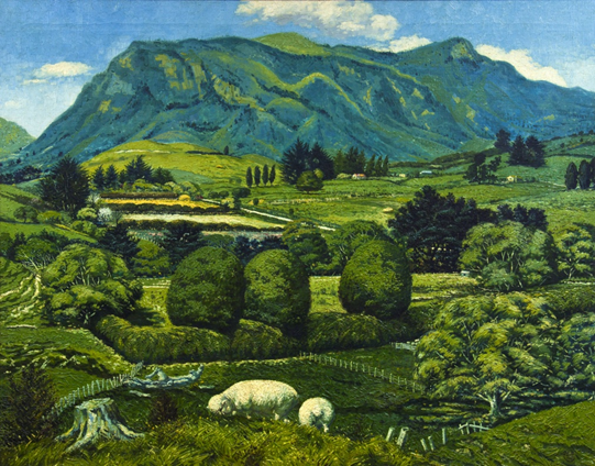 Leonard Mitchell (1925-1980) Summer in the Mokauiti Valley 1956 oil on canvas 915mm x 1150 mm